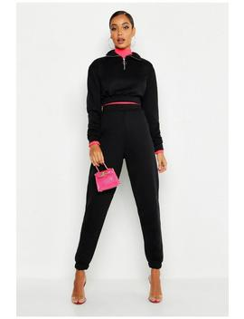 O Ring Zip Crop Sweat & Cuff Jogger Tracksuit by Boohoo
