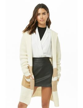 Hooded Colorblock Open Front Cardigan by Forever 21