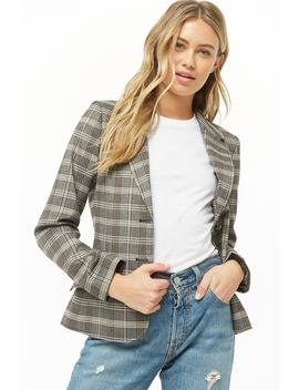 Plaid Single Breasted Blazer by Forever 21