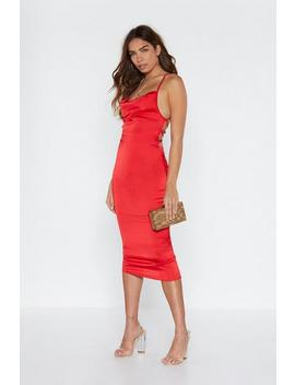 Cowl Are You Satin Midi Dress by Nasty Gal