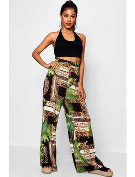 Woven Tropical Chain Wide Leg Trouser by Boohoo