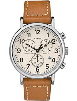 Timex Weekender Unisex Adult Quartz Watch, Chronograph Display And Leather Strap by Amazon