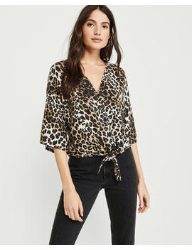 Leopard Print Tie Front Blouse by Abercrombie & Fitch
