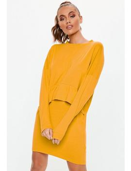 Mustard Oversized Jersey Overlay T Shirt Dress by Missguided