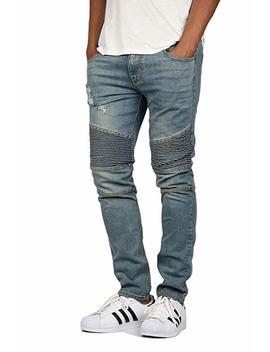 Men's M.Blue Skinny Fit Moto Biker Jeans 4025 by Kdnk