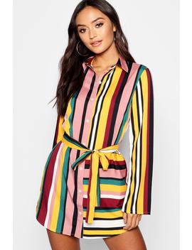 Petite Striped Shirt Dress by Boohoo