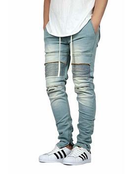 Kdnk Men's Stretch Ankle Zipper Biker Denim Jogger Pants   2 Colors by Kdnk