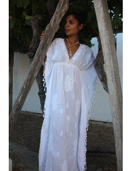White Ibiza Long Kaftan With Hand Embroidery by Etsy