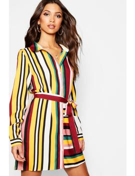 Tonal Stripe Mix + Match Shirt Dress by Boohoo