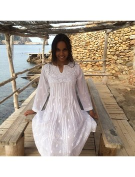 White Ibiza Tunic Dress In Muslin Cotton With Hand Embroidery by Etsy
