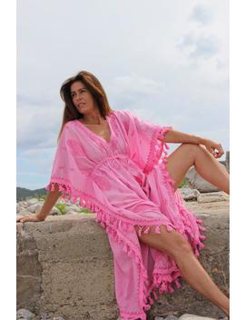 Think Pink Ibiza Long Kaftan With Hand Embroidery by Etsy