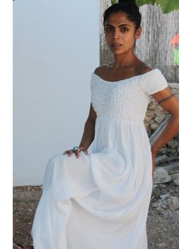 White Long Ibiza Cotton Dress by Etsy