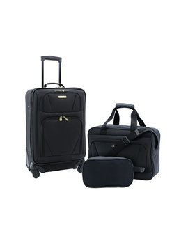 Travelers Club 3 Pc Expandable 4 Wheel Carry On Set by Travelers Club