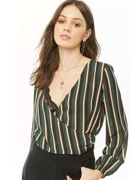 Sheer Striped Surplice Crop Top by Forever 21