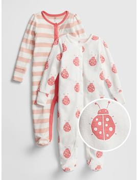 Ladybug Stripe Footed One Piece (2 Pack) by Gap