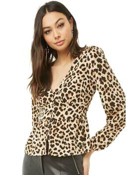 Leopard V Neck Top by Forever 21