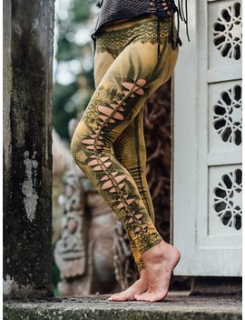 Cutted  And Braided Leggings... Goa Style... Psy Trance...Bleached...Snake Skin Print... Lace Print... Yoga Wear by Etsy