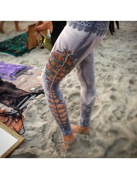 Cutted And Braided Leggings... Goa Style Leggings...Bleached... Lace Print... Yoga Wear...Yoga Leggings by Etsy
