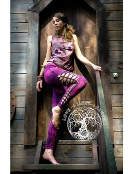 Cutted  And Braided Leggings...Raspberry Leggings...Goa Style... Psy Trance...Bleached... Lace Print... Yoga Wear...Yoga Pants... by Etsy