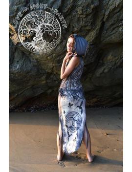 Hand Printed Tailed Dress...Blue Grey Hoody Braided Dress...Boho Style Dress...Tree Of Life...Goa Style...Festival Clothing by Etsy