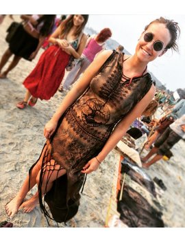 Hand Printed Tailed Dress...Black & Brown Hoody Braided Dress...Boho Style Every Day Dress...Tree Of Life Dress by Etsy