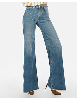 High Waisted Medium Wash Stretch Wide Leg Jeans by Express