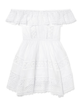 Vaiana Crocheted Lace Paneled Cotton Blend Mini Dress by Charo Ruiz