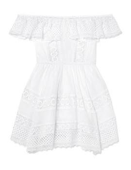 vaiana-crocheted-lace-paneled-cotton-blend-mini-dress by charo-ruiz