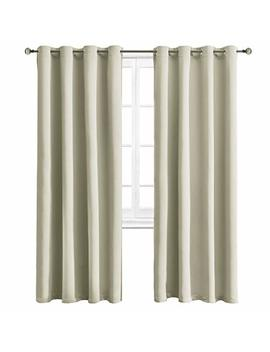 Wontex Blackout Curtains Room Darkening Thermal Insulated Curtain With Grommet For Bedroom/Living Room, 52 X 95 Inch, Beige, 2 Panels by Wontex