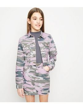 Girls Lilac Camo Denim Jacket by New Look