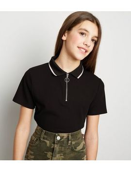 Girls Black Ribbed Zip Polo Neck Shirt by New Look
