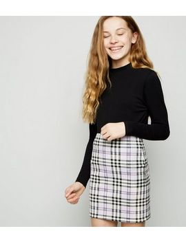 Girls Lilac Check Tube Skirt by New Look
