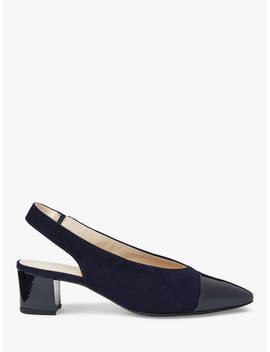 Peter Kaiser Bozea Block Heel Sling Back Court Shoes, Notte Mura Suede by Peter Kaiser