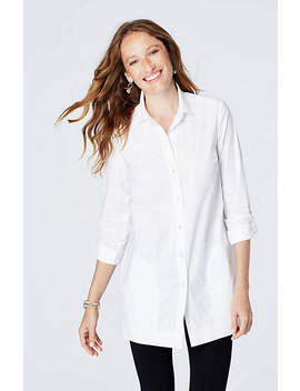 Cotton Stretch Button Front Tunic by J.Jill