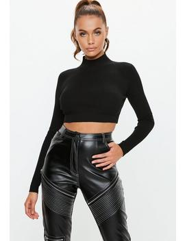 Black Knitted High Neck Ribbed Crop Top by Missguided