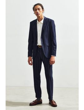 Uo Navy Blue Pinstripe Slim Fit Suit Pant by Urban Outfitters