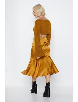 In A Ruche Satin Skirt by Nasty Gal