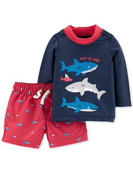Baby Boys 2 Pc. Shark Rash Guard Swim Set by Carter's
