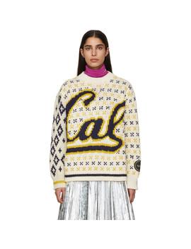 Off White & Navy Berkeley Edition University Sweater by Calvin Klein 205 W39 Nyc