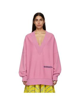 Purple Oversized V Neck Sweatshirt by Calvin Klein 205 W39 Nyc