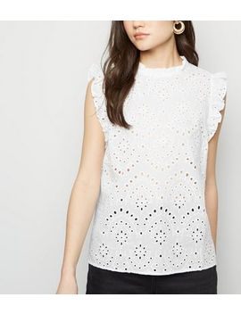 White Cutwork Frill Trim Blouse by New Look