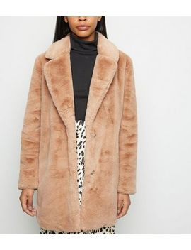 Camel Faux Fur Longline Coat by New Look