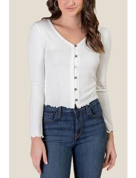 Taryn Lettuce Edge Button Down Top by Francesca's