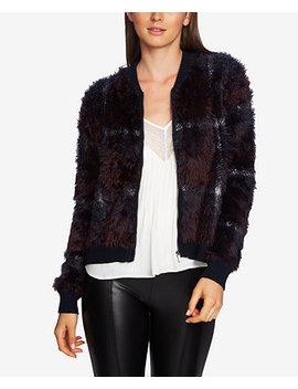Zip Up Plaid Eyelash Sweater by 1.State