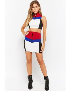 Colorblock Chevron Funnel Top & Mini Skirt Set by Forever 21