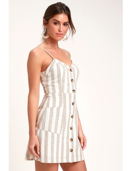 On The Pier Tan And White Striped Button Front Mini Dress by Lulus