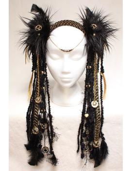 Black And Gold Tribal Headdress by Etsy