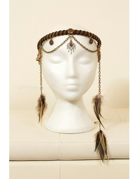 Tribal Feather Chain Headdress by Etsy