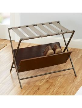Harper Luggage Rack With Shoe Storage In Gunmetal by Bed Bath And Beyond