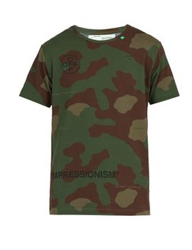 Stencil Camouflage Cotton T Shirt by Off White